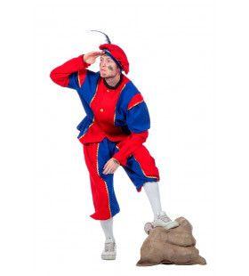 Blauw-Rode Piet Bi-Stretch Man Kostuum
