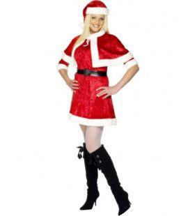 Juffrouw Kerstman Met Cape Vrouw Kostuum