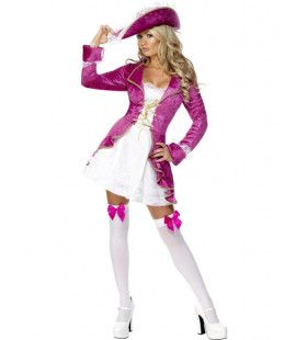 Fever Swashbuckler Roze-Wit Vrouw Kostuum