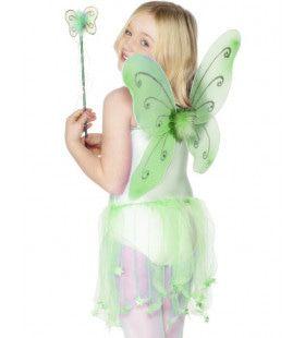 Groene Vlindervleugels Met Bijpassende Toverstok
