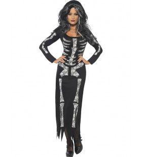 Skelet Jurk Vrouw Kostuum