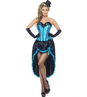 Blauw Burlesque Vrouw Kostuum