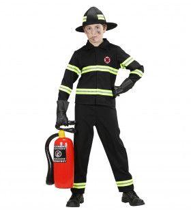 Hete Vuren Brandweer Jongen Zwart Kostuum