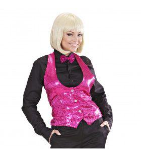 Dames Pailletten Vest Roze