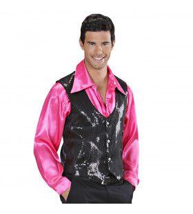 Showmaster Pailletten Vest Zwart Man