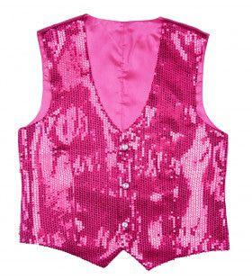 Showmaster Pailletten Vest Roze