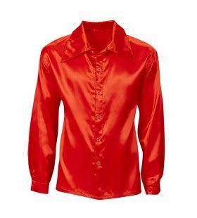 70s Disco Shirt Rood Satijn Man