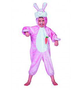 Snoezige Bunny Roze Kind Kostuum