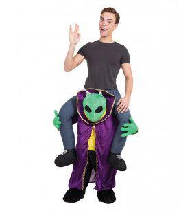 Op De Rug Van Een Spookachtige Alien Man Kostuum