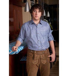 Geblokt Overhemd Deluxe Blauw / Wit Man