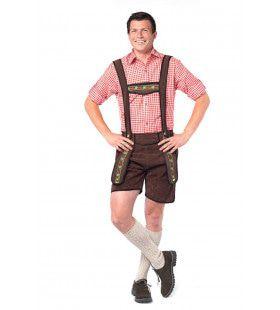 Tiroler Lederhose Schweinsteiger Donkerbruin Man Kostuum