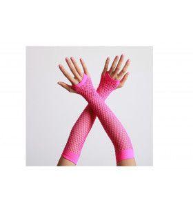Vingerloze Handschoenen Lang Visnet Neon Roze