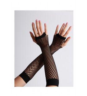 Vingerloze Handschoenen Lang Visnet Zwart