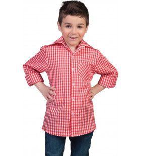 Rood-Wit Geblokt Tiroler Hemd Cowboy Jongen