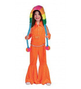 Neon Oranje Overall Wijde Pijpen 60s Meisje Kostuum
