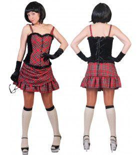 Rode Sexy Schotse Flannagan Vrouw Kostuum