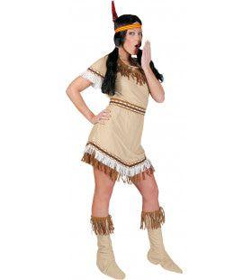 Beige Korte Sexy Indiaan Jurk Sioux Sunrise Vrouw