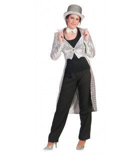 Frackjas Zilver Vrouw Kostuum