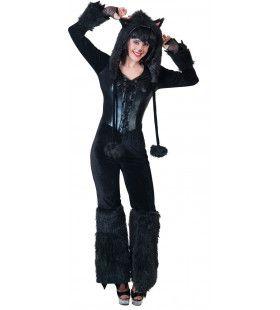 Fantasie Zwarte Panter Dame Vrouw Kostuum