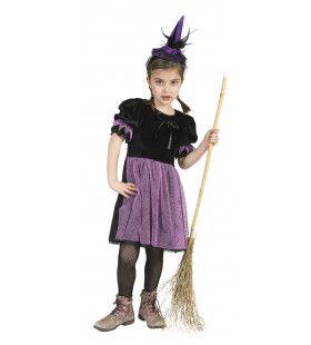 Zwart-Paarse Heks Nina Meisje Kostuum