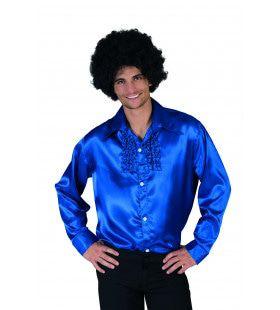 Glimmende Blauwe Rouchen Blouse Man