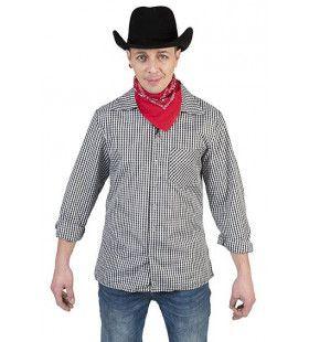 Zwart Wit Ruitjes Shirt Cowboy Hank Man