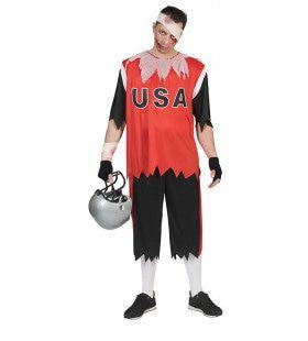 Dodelijk Trage American Football Zombie Man Kostuum
