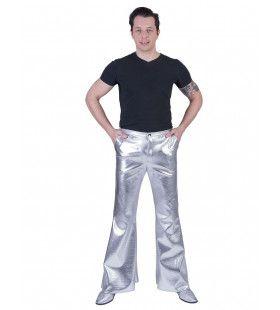 Glanzend Zilveren Disco Godheid Broek Man