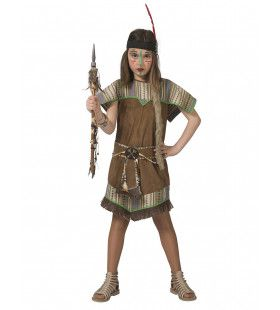 Jonge Squaw Wappo Indiaan Wilde Westen Amerika Meisje Kostuum