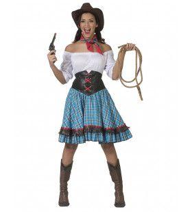 Sexy Sue Short Saloon Cowgirl Vrouw Kostuum