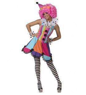 Lollige Clown Circus Regenboog Vrouw Kostuum