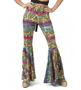 Hippie Broek Kleurrijke Dieren Print Vrouw