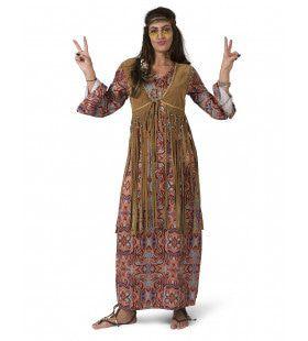 Lange Hippie Happening Jaren 60 Vrouw Kostuum