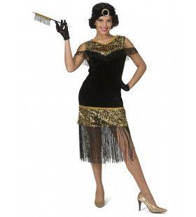 Gouden Lovertjes Charleston Jaren 20 Vrouw Kostuum