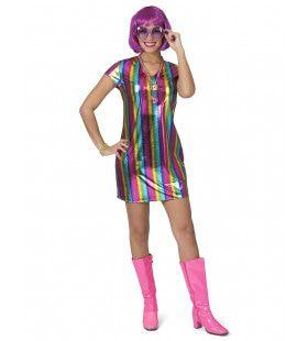 Metallic Glanzende Regenboog Jaren 80 Vrouw Kostuum
