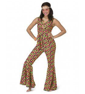 Fluor Flower Power Goes Disco Vrouw Kostuum