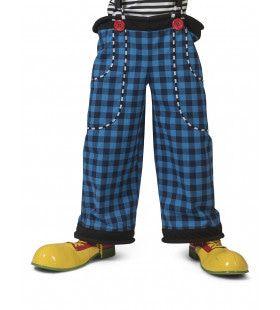 Grote Gestikte Zakken Broek Clown August Blauw Zwarte Ruitjes Man