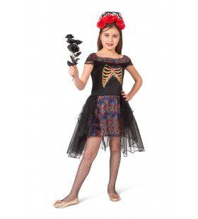 Day Of The Dead Duistere Zwarte Bruid Meisje Kostuum