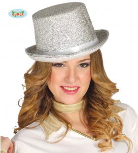 Glitter Hoge Hoed Zilver Showgirl