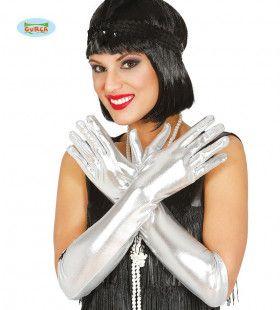 Lange Zilveren Handschoenen Vegas 44 Centimeter