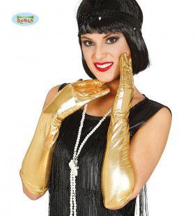 Lange Gouden Handschoenen Vegas 44 Centimeter