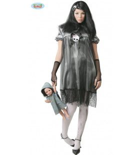 Griezelige Voodoo Pop Vrouw Kostuum