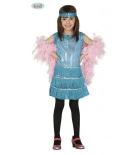 Glinsterend Blauw Jaren 20 Meisje Kostuum