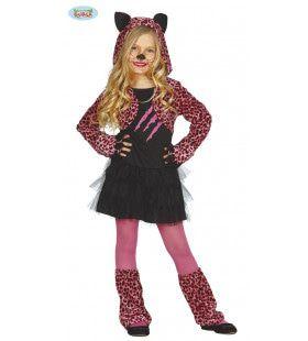 Lief Luipaard Roze Meisje Kostuum