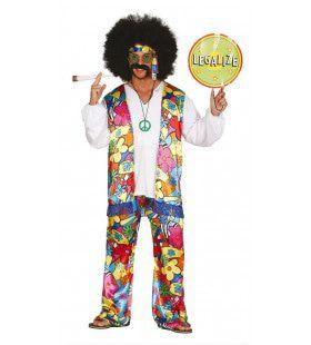 Kleurrijk Hair Hippie Man Kostuum