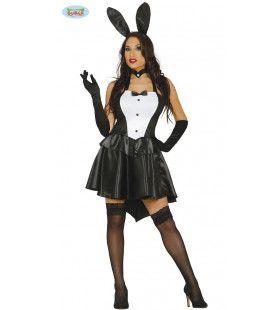 Stout Zwart Wit Bunny Vrouw Kostuum