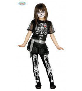 Diamanten Kettingen Skelet Meisje Kostuum