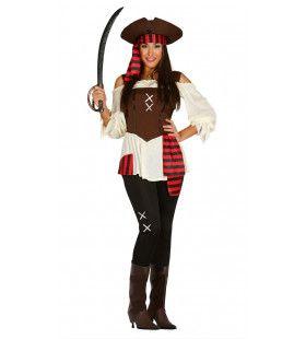 Zeven Hoge Zeeen Pirate Vrouw Kostuum