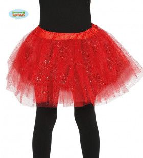 Rode Tutu Met Glitter Regen Kind