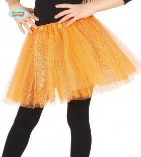 Oranje Tutu Met Glitter Regen